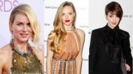 Naomi Watts, Anne Hathaway y Amanda Seyfried lucen rayas al costado, una simple partición lateral que funciona con cualquier largo de pelo