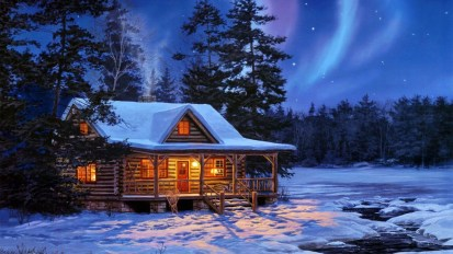 houses-nothern-lights-magical-night-northern-lights-winter-cabin-woods-snow-painting-wallpaper-for-desktop