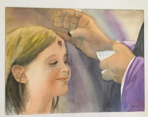 girl receiving ashes from priest on Ash Wednesday