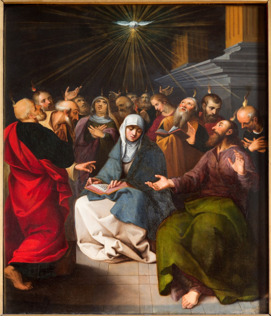 Blessed Mother and apostles at Pentecost