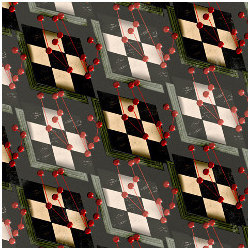 checkerboard patterns with red pins, illustration