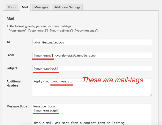 Nothing shows up in the email, even after adding a tag to the form ...