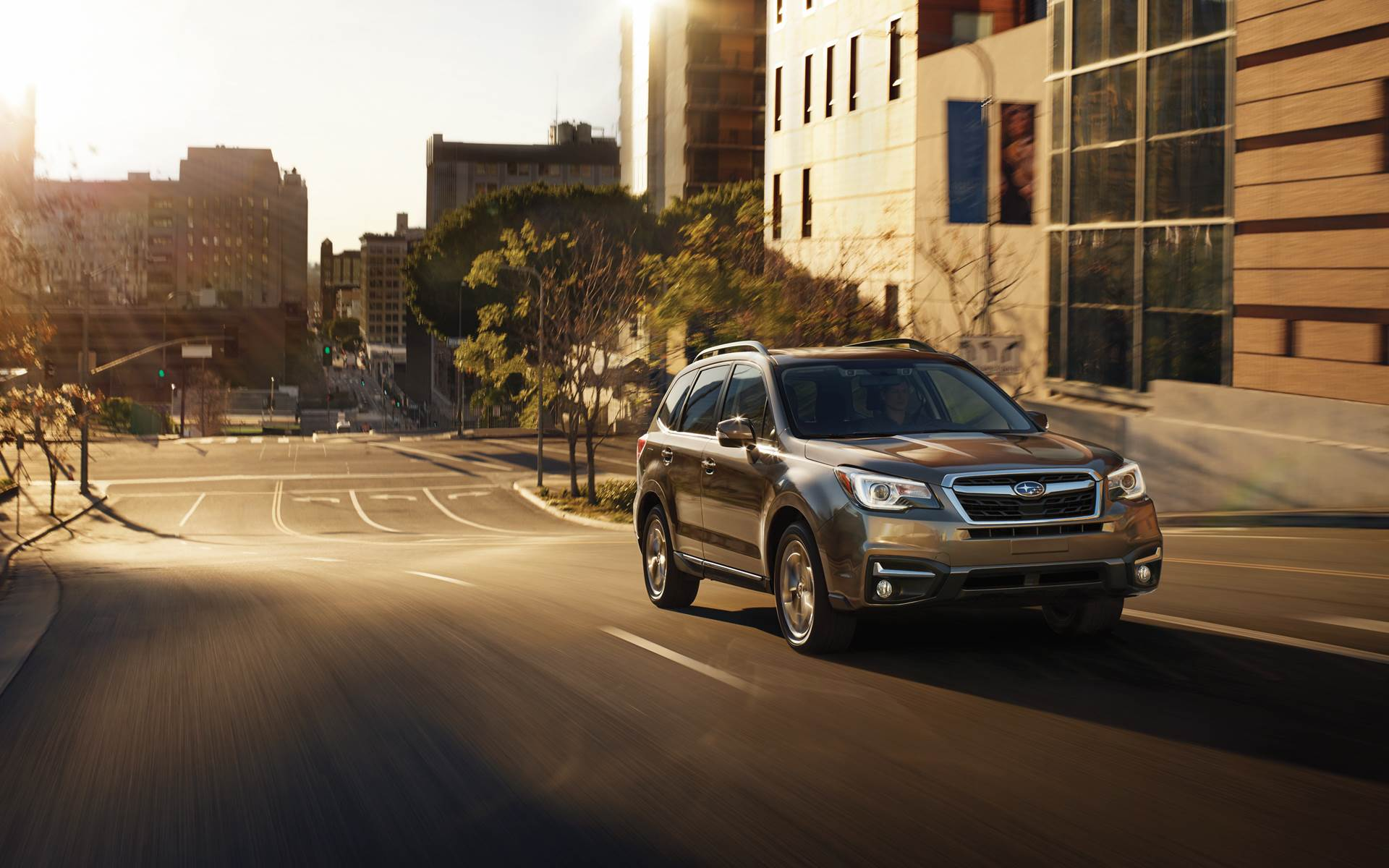 2019 Subaru Forester Front Side View In City On Road Hd Wallpaper