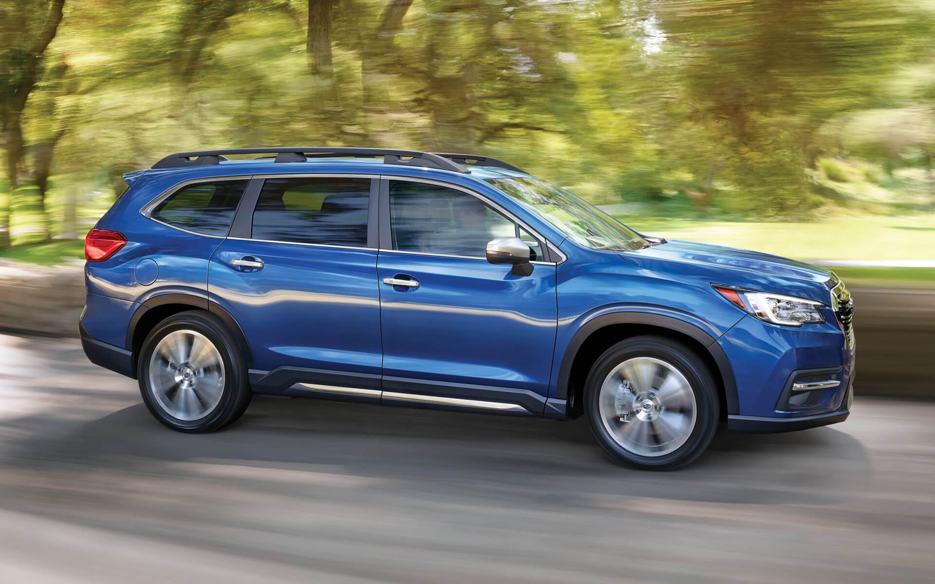 2019 Subaru Ascent Blue Color On Road In Speed Blur Background 4k