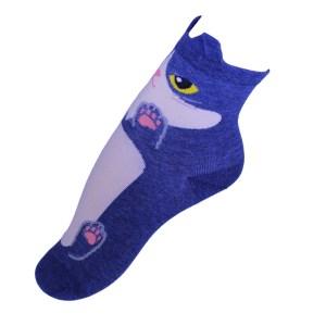 5f851a97e88cbf Niebieskie śmieszne skarpetki kot z uszami – krótkie