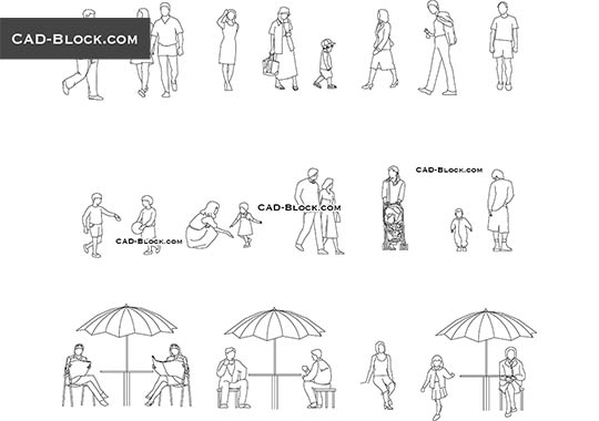 People at the gym CAD Blocks free download, DWG