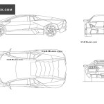 Lamborghini Reventon Cad Blocks In Plan Front Side Elevation View