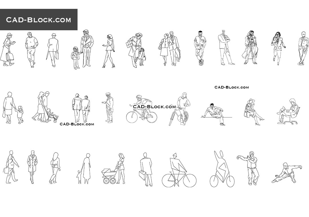 People free CAD Blocks download. Side, front, back view