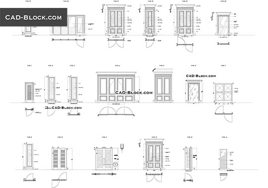 Doors in plan CAD Blocks free download