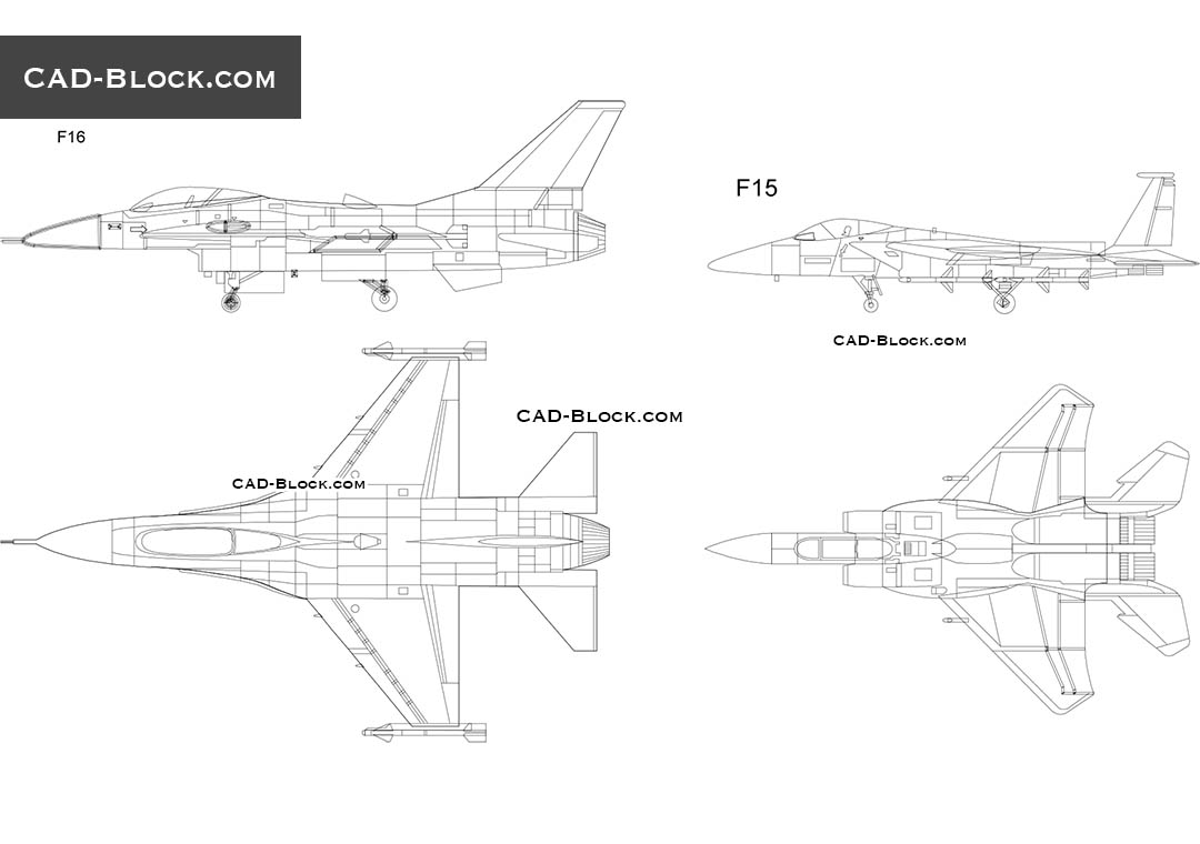Fighters F16, F15 CAD Blocks free download, drawings