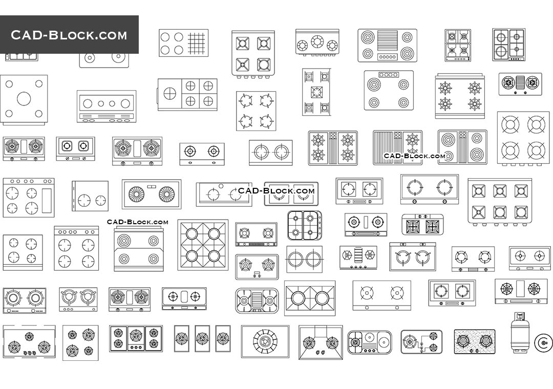 hight resolution of induction cooktops electric gas and others cad blocks