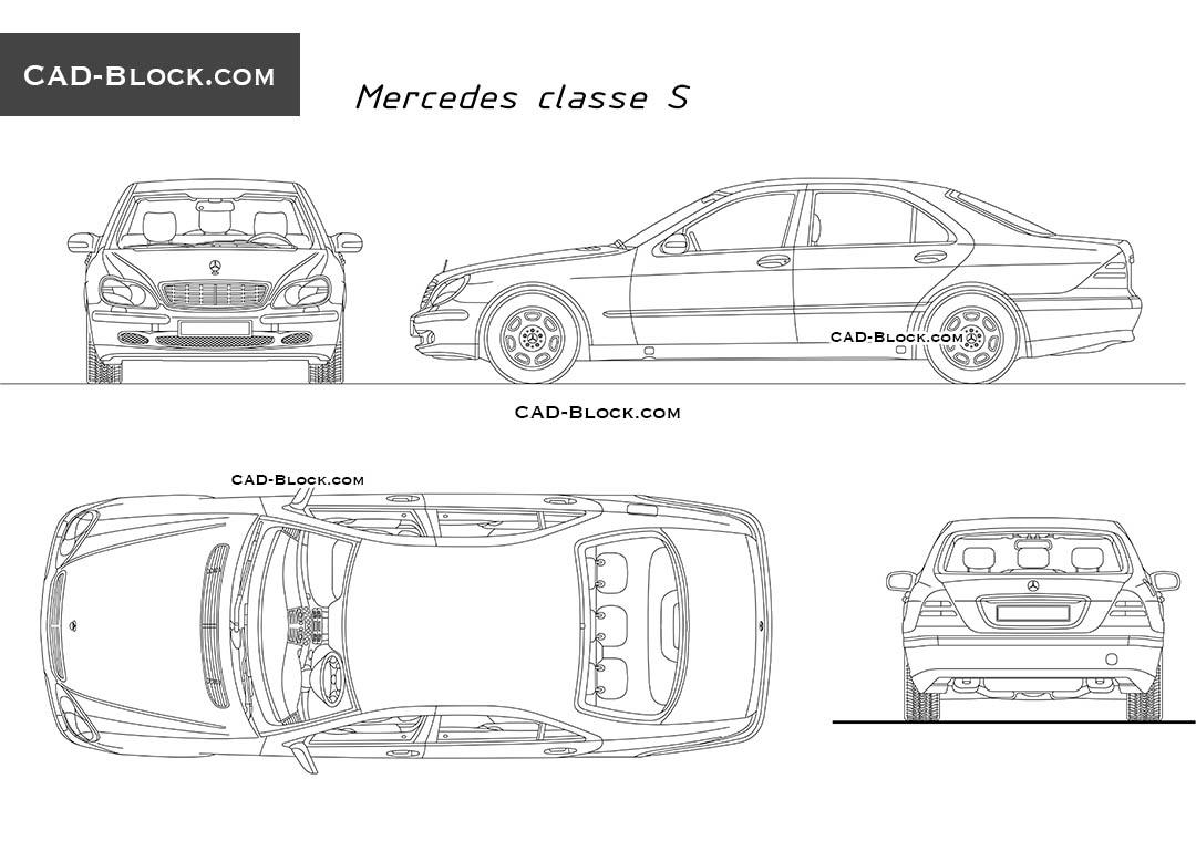 Mercedes S-Class free CAD Blocks download