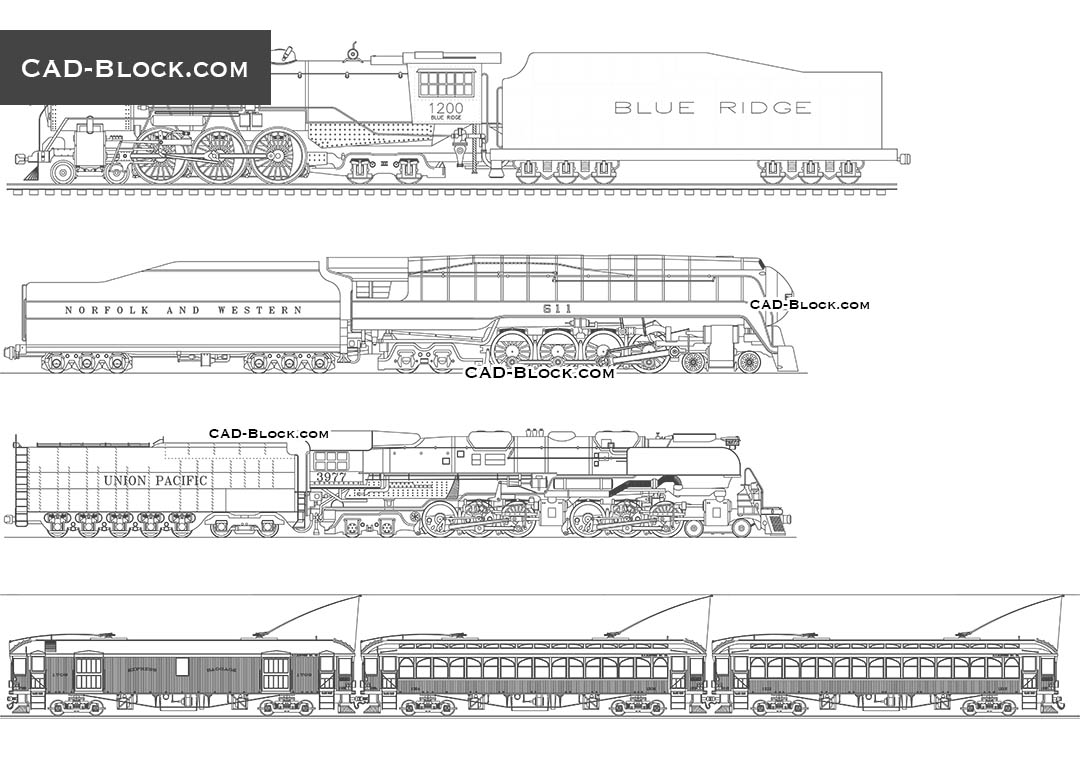 hight resolution of trains free cad file