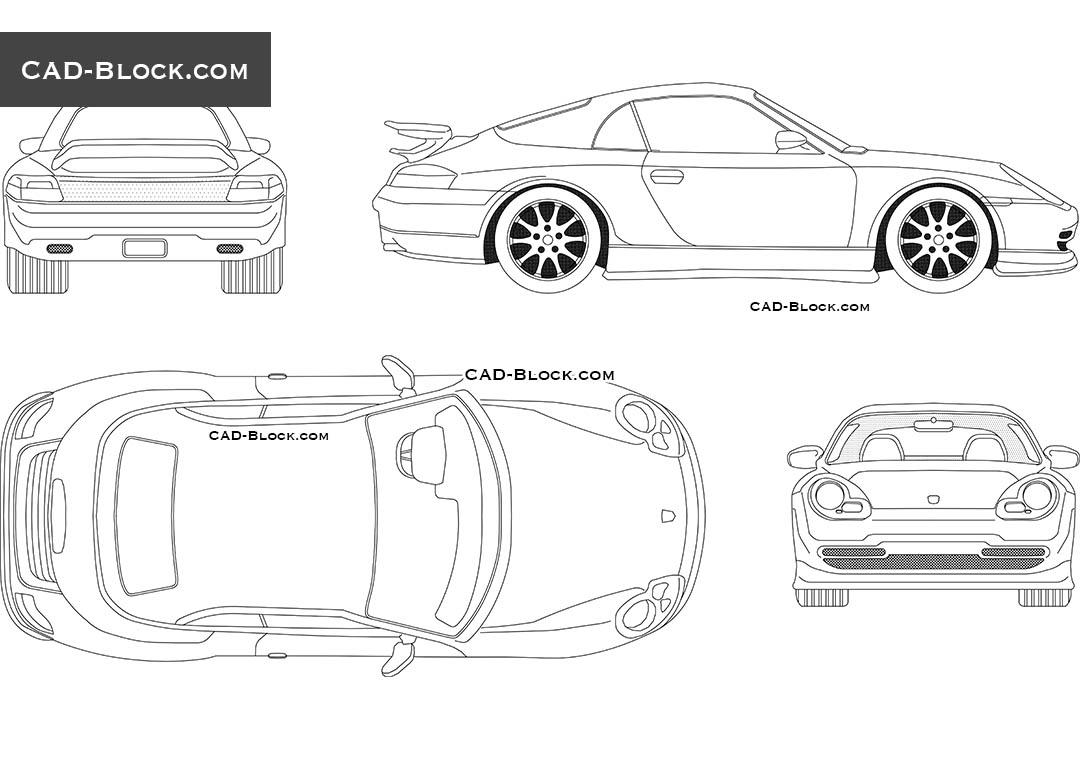 Porsche Boxster (2000) CAD Blocks, free DWG file
