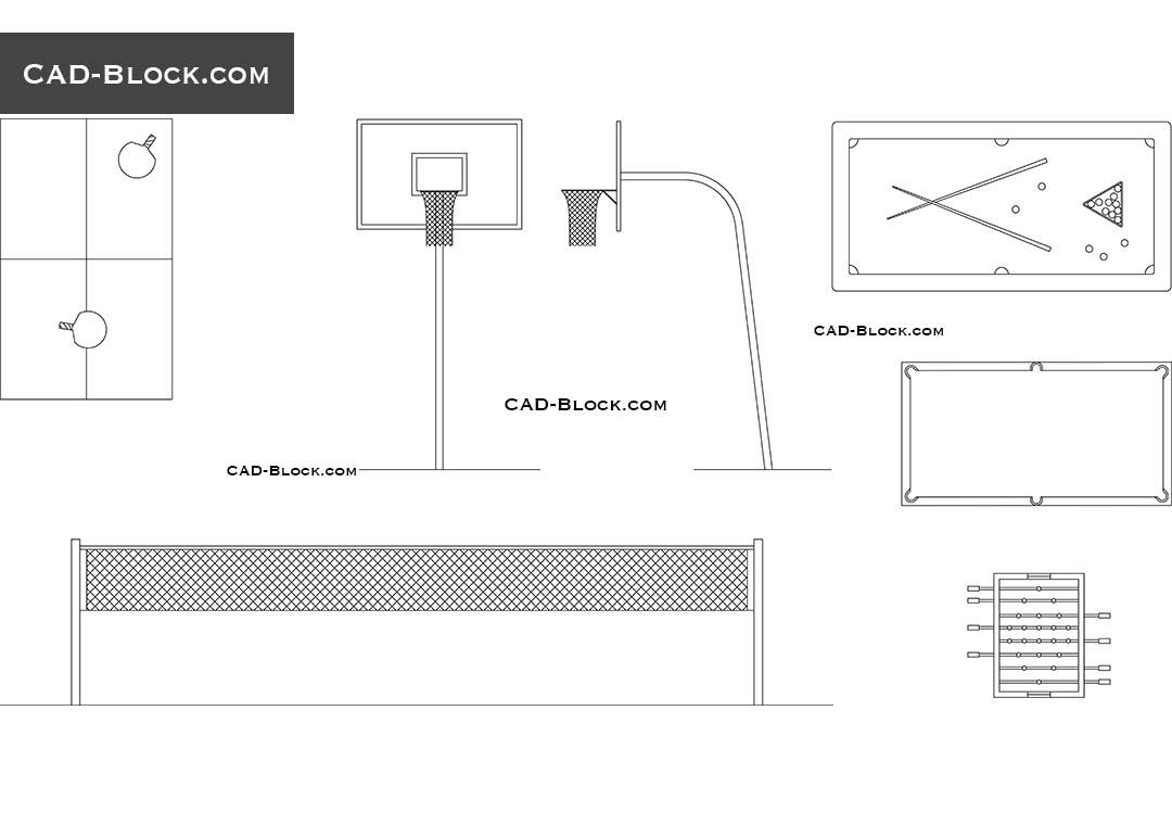 Sports equipment free CAD Blocks download