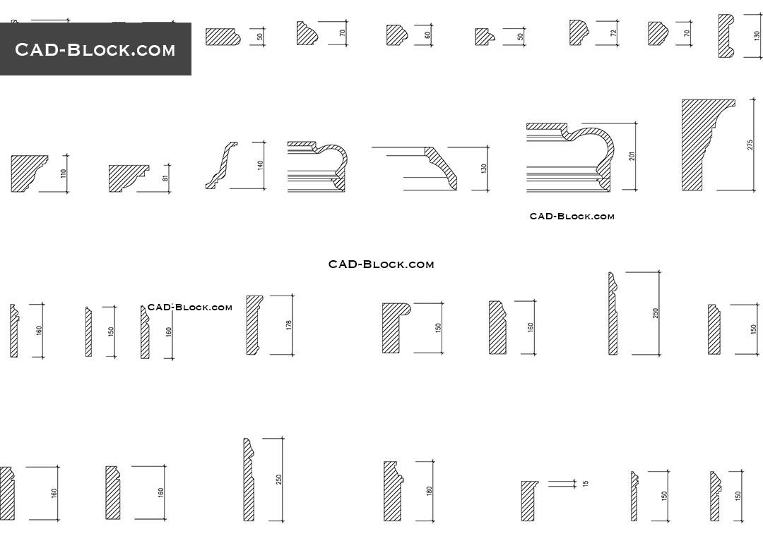 Cornices Set CAD Blocks Free Download
