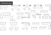 Furniture CAD Blocks: Couches and sofas in plan