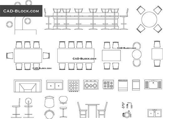 Dining tables elevation CAD Blocks free