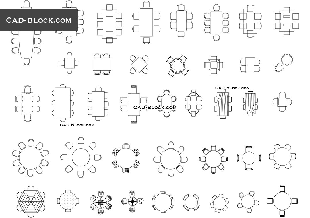 Dining Room Sets Autocad Drawings
