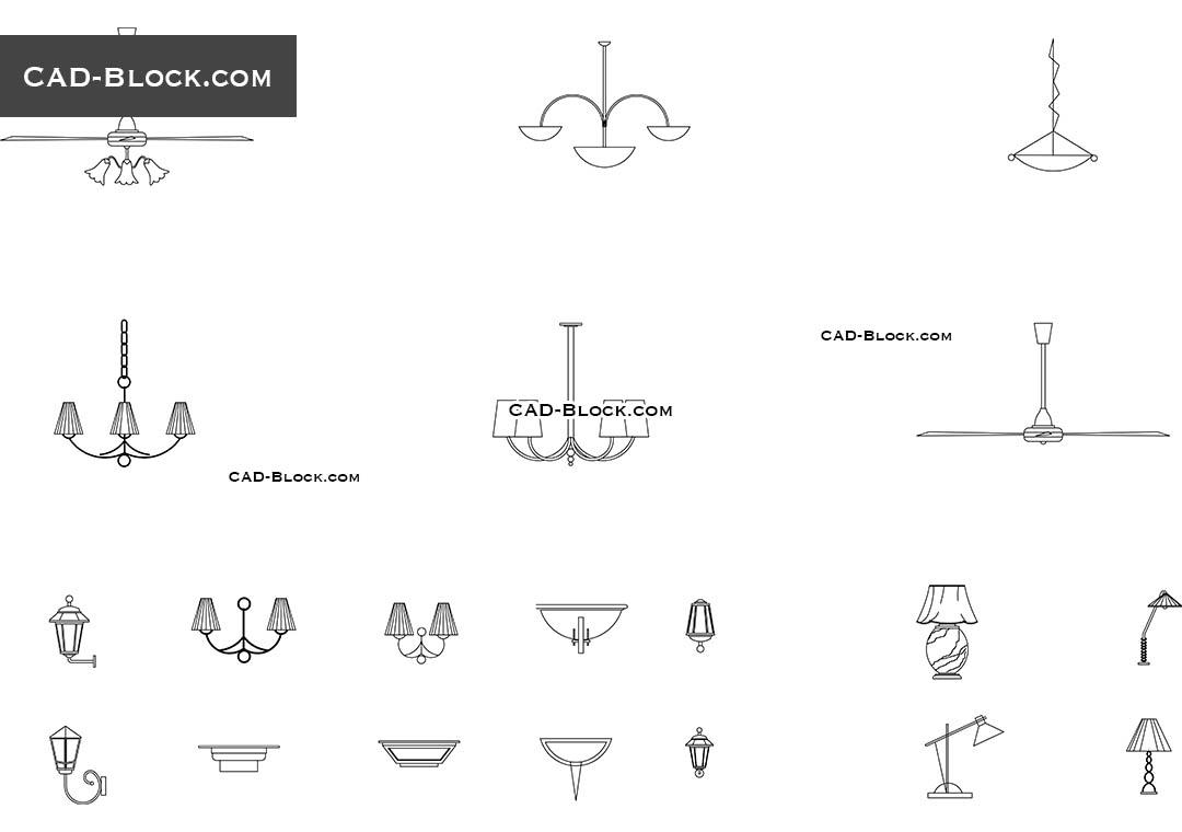 Chandeliers CAD Blocks, AutoCAD file download