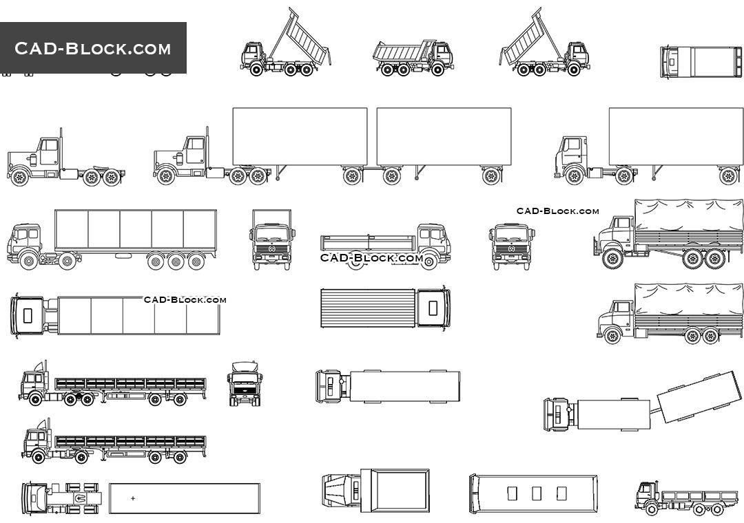hight resolution of trucks set cad blocks autocad file