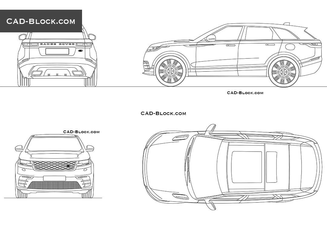 Range Rover Velar CAD blocks, AutoCAD drawings download