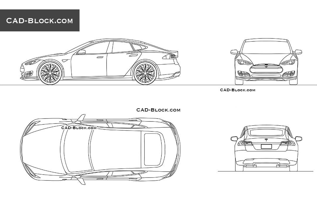 Tesla Model S CAD blocks, AutoCAD drawings download