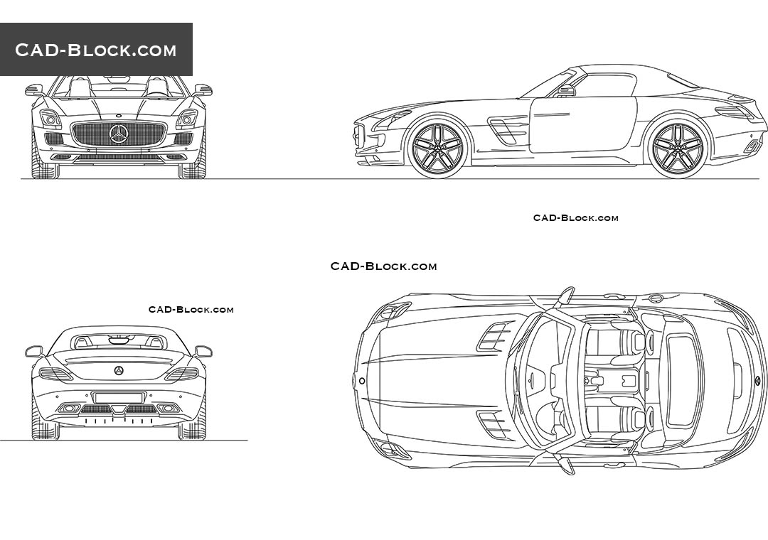 Mercedes SLS Roadster (2012) CAD drawings, AutoCAD blocks