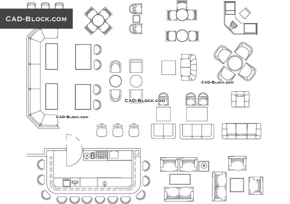 medium resolution of furniture for bar restaurant cad blocks autocad file