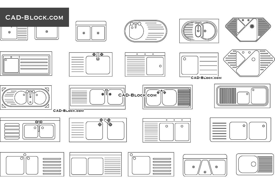 Kitchen Sink Cad Blocks Free Download Dwg File