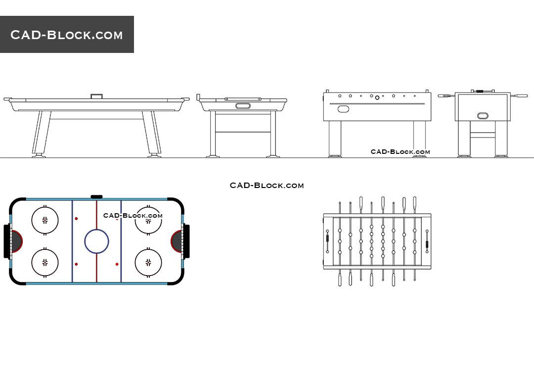 Table football, Air hockey free CAD blocks, AutoCAD file