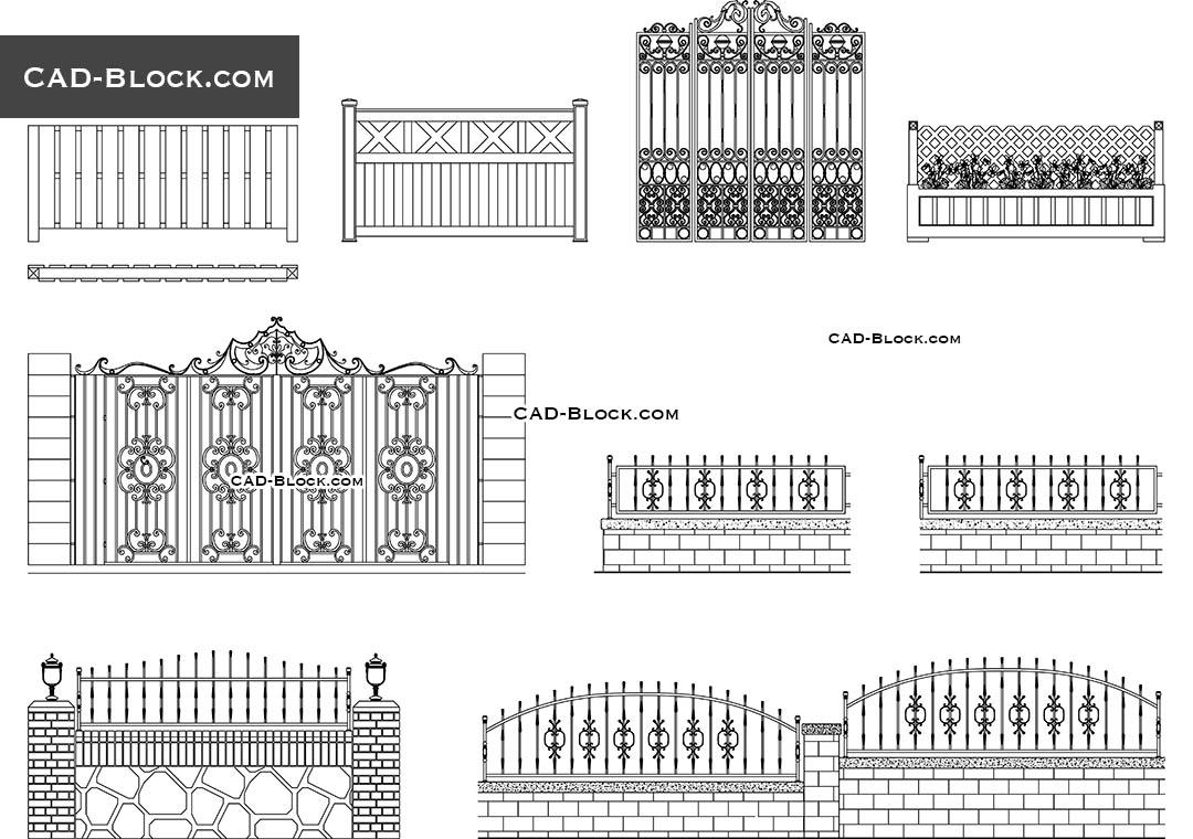 gates fences desings autocad