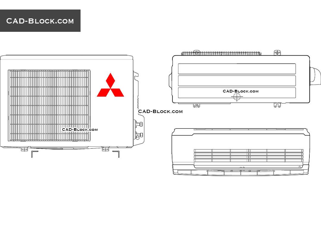 hight resolution of mitsubishi air conditioning cad blocks autocad file