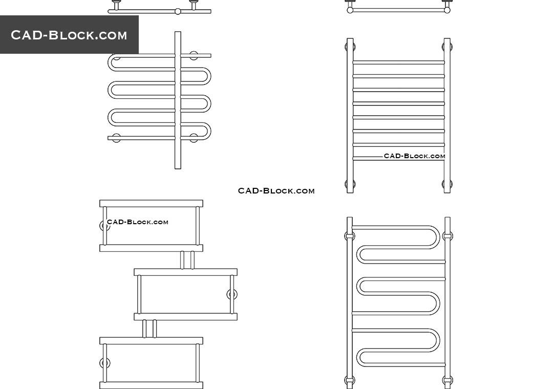 Heated Towel Rail CAD block, AutoCAD drawings free download