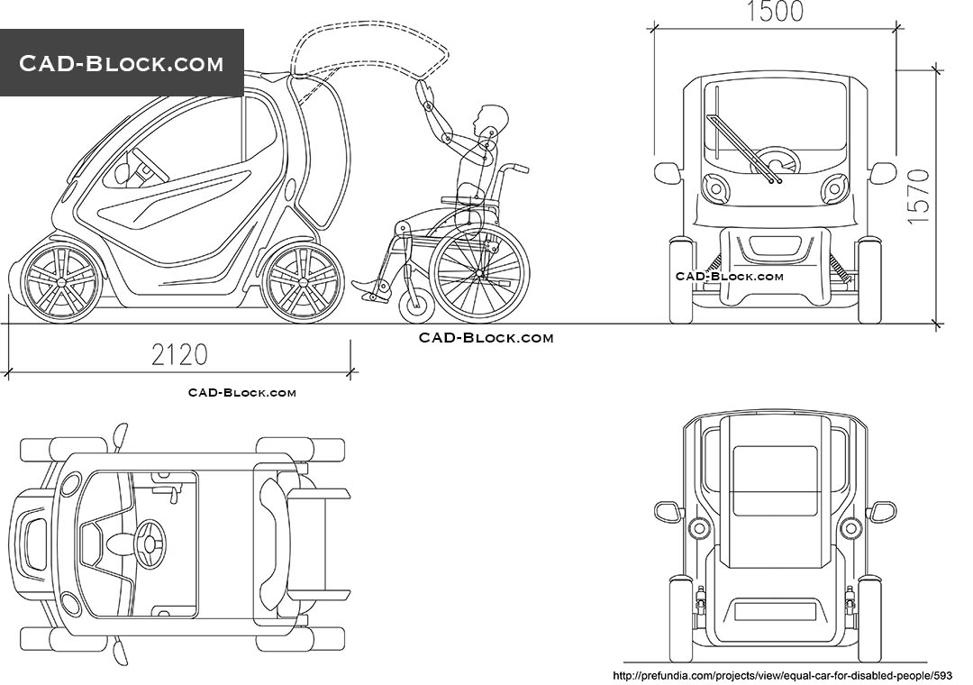 Car for Disabled People free AutoCAD blocks for download