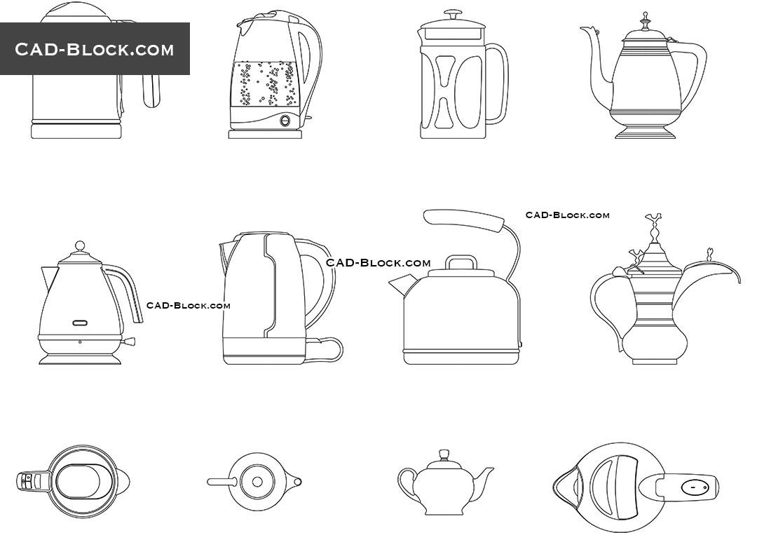 Teapot, Kettle free 2D CAD blocks download, AutoCAD file