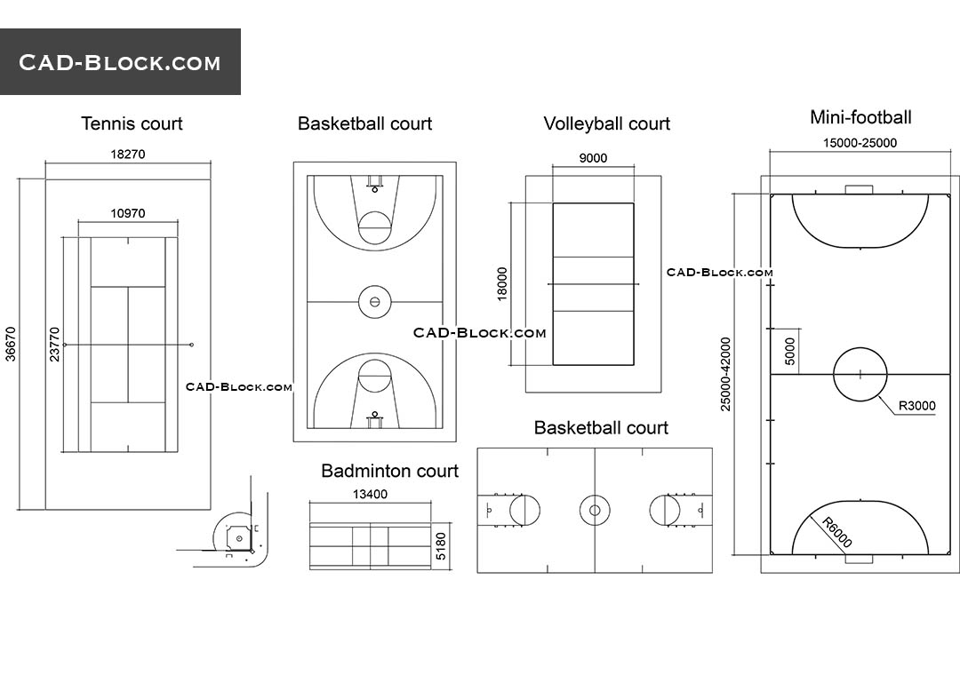 Courts, Fields dimensions free AutoCAD file download, 2D