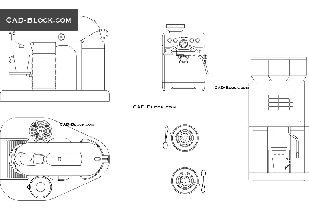 Coffee Machine free CAD blocks download, AutoCAD DWG file