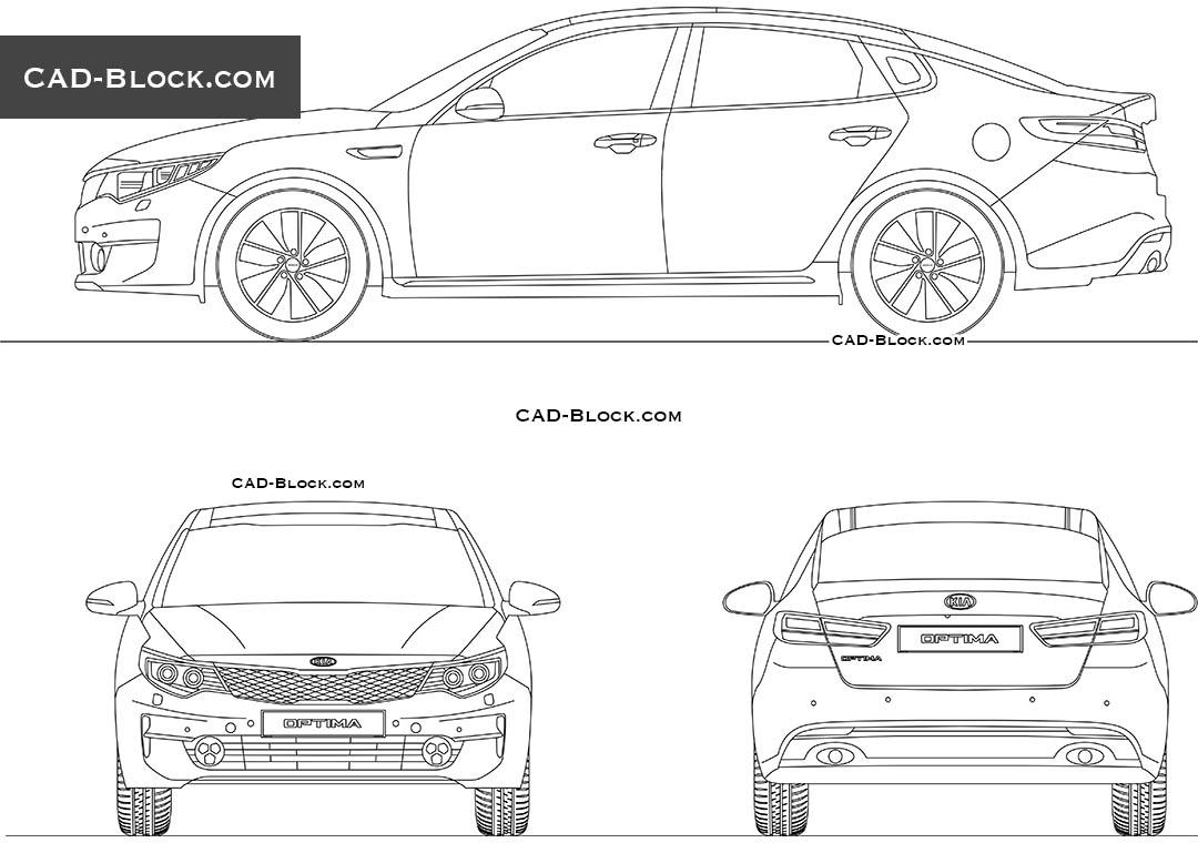 Kia Optima 2017 free CAD block, download AutoCAD drawings
