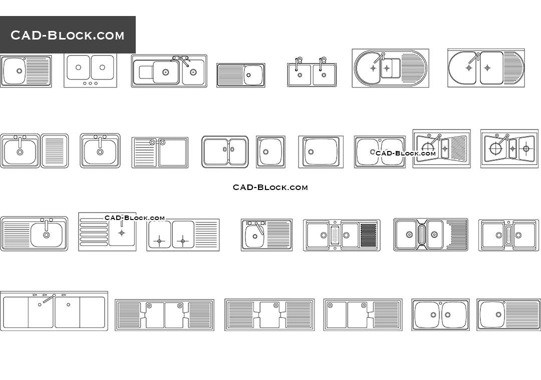 Kitchen Sink Set Free Autocad Blocks Cad Dwg File Download