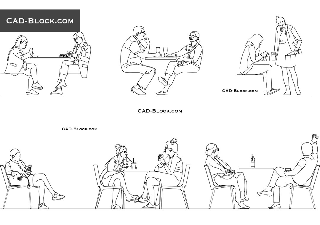 People sitting in Cafe, download AutoCAD blocks, elevation