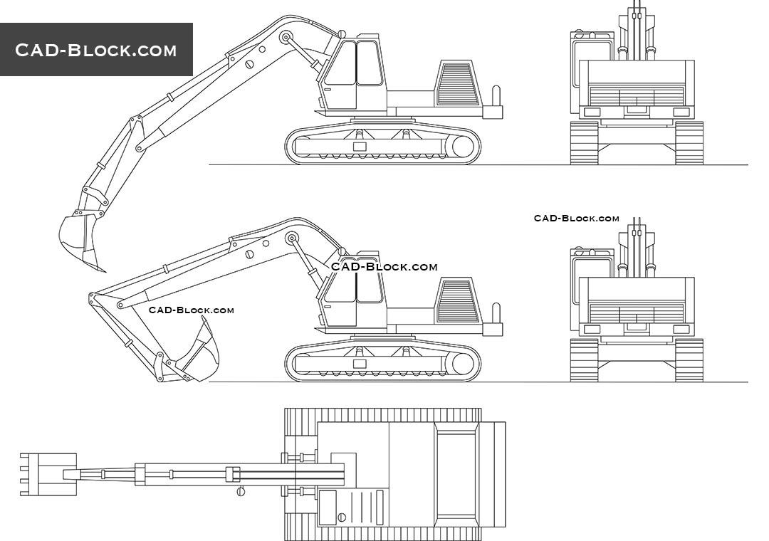 Excavator Cad block DWG, AutoCAD model download free