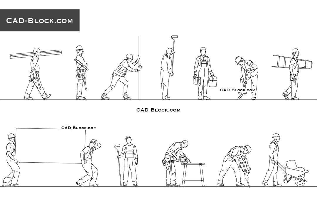 CAD blocks of Building Workers in AutoCAD. Buy 2D models