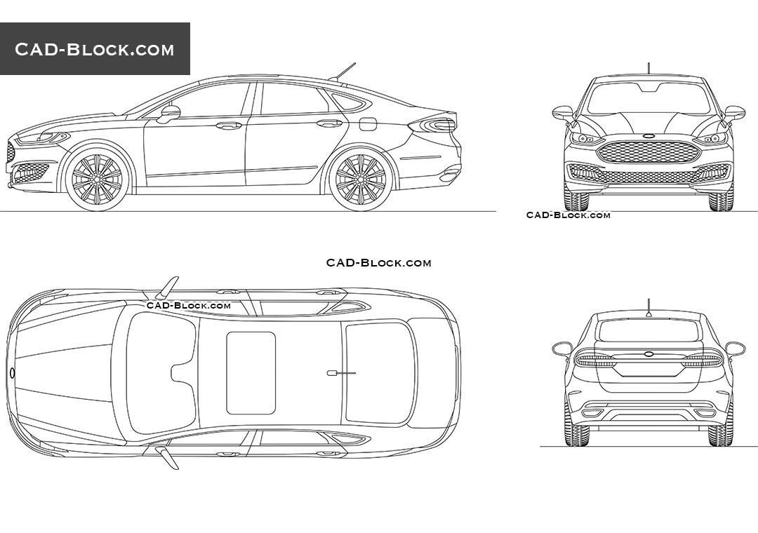 Ford Mondeo Cad block download, car AutoCAD file