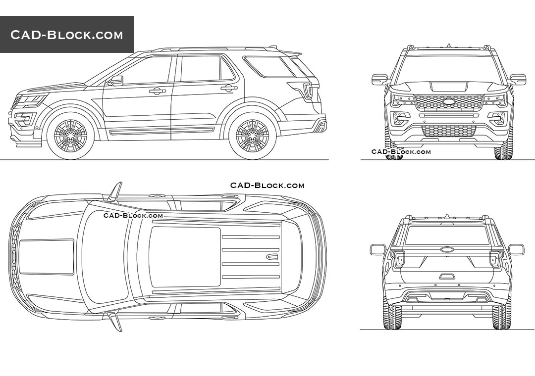 Ford Explorer Cad block download, Car AutoCAD drawings