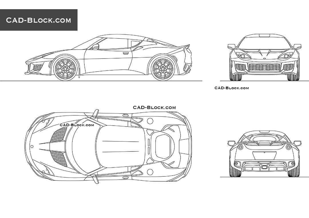 Lotus Evora 400 AutoCAD drawings, DWG blocks download, car