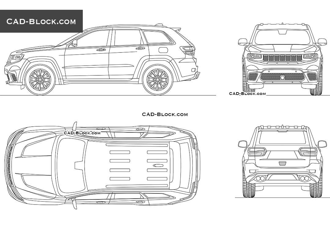 Jeep Grand Cherokee Cad blocks, download 2D car model