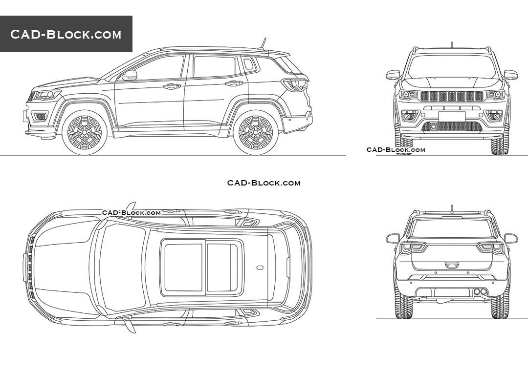 Jeep Compass CAD Block, AutoCAD file, car plan, rear