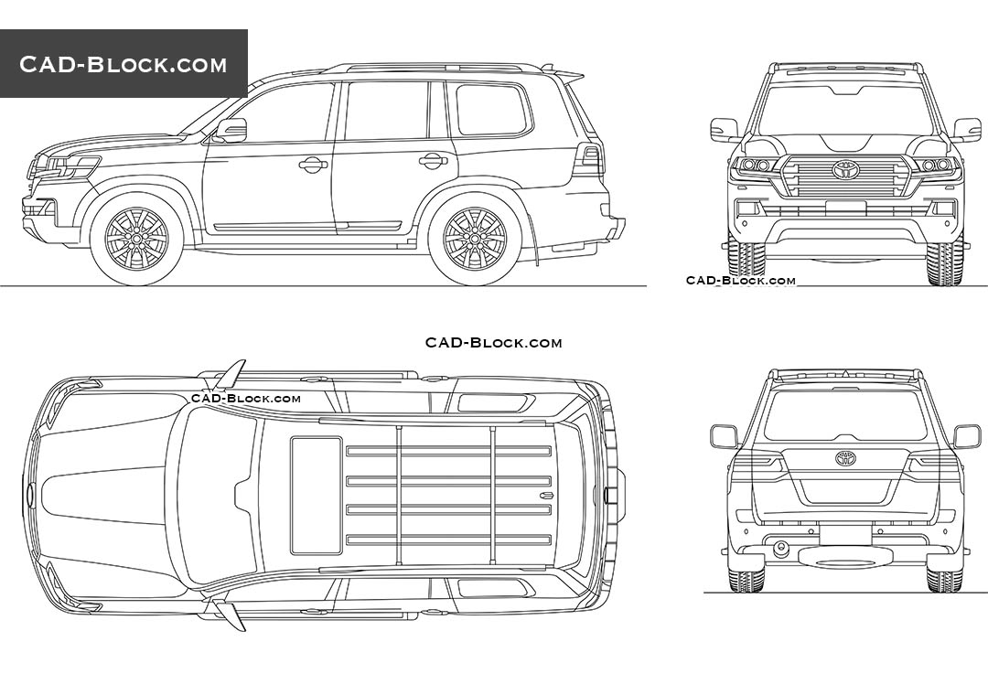 Toyota Land Cruiser 200 CAD Block, Car in plan, rear