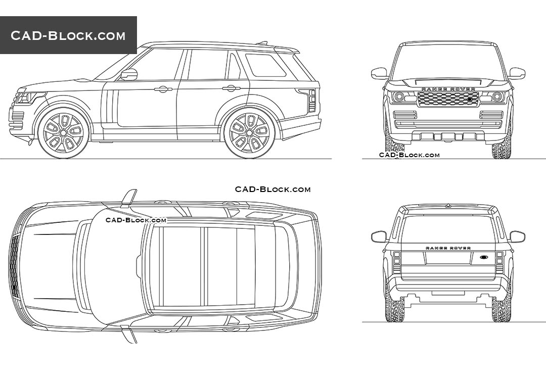 Range Rover Vogue download CAD model, DWG Blocks in real scale